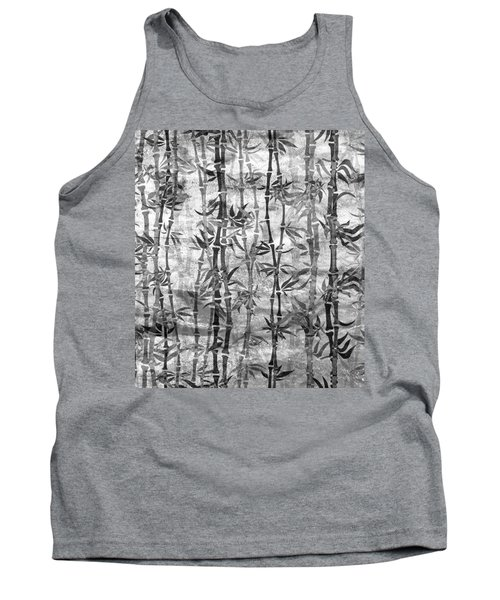 Japanese Bamboo Grunge Black And White Tank Top