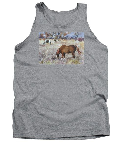 Tank Top featuring the painting Jill's Horses On A November Day by Anne Gifford