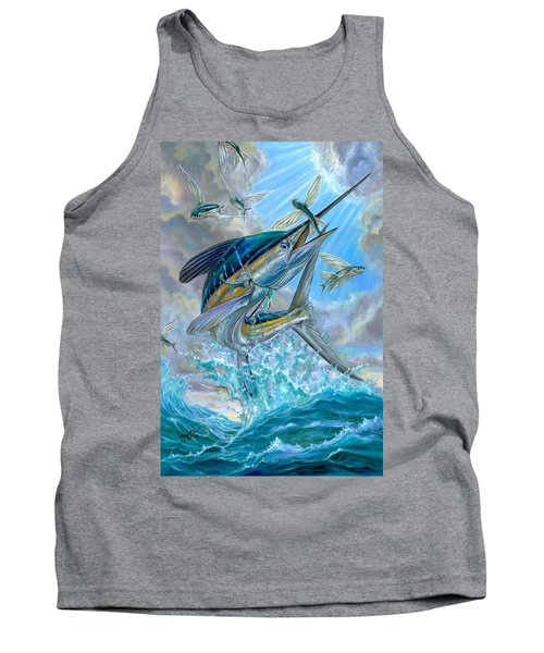 Jumping White Marlin And Flying Fish Tank Top