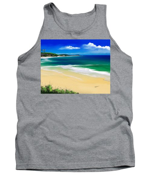 Tank Top featuring the digital art Kauai Beach Solitude by Anthony Fishburne