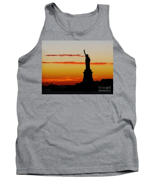 Tank Top featuring the photograph Lady Liberty At Sunset by Susan Wiedmann