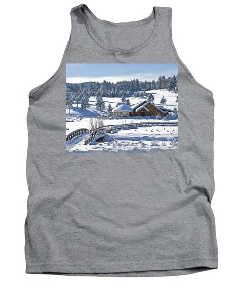 Lake House In Snow Tank Top