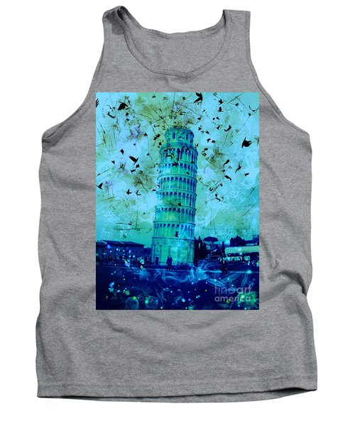 Leaning Tower Of Pisa 3 Blue Tank Top