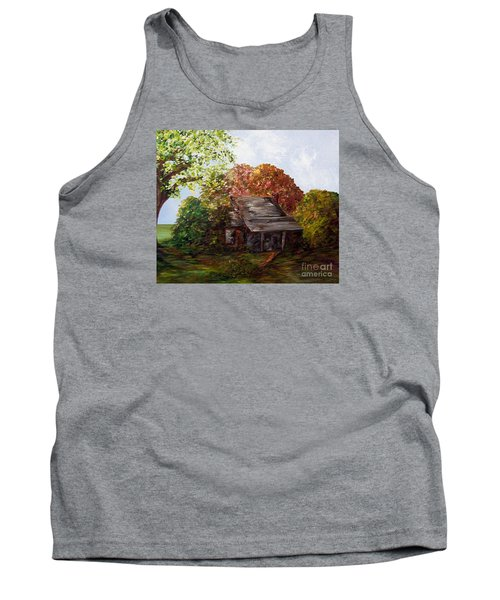 Tank Top featuring the painting Leaves On The Cabin Roof by Eloise Schneider