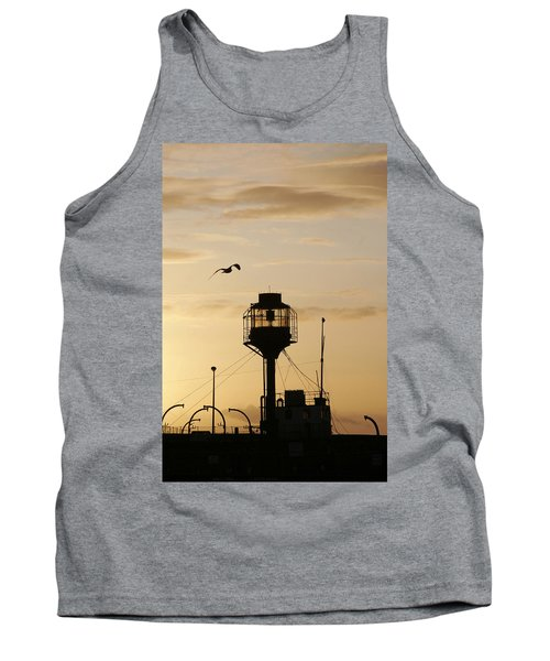 Light Ship Silhouette At Sunset Tank Top