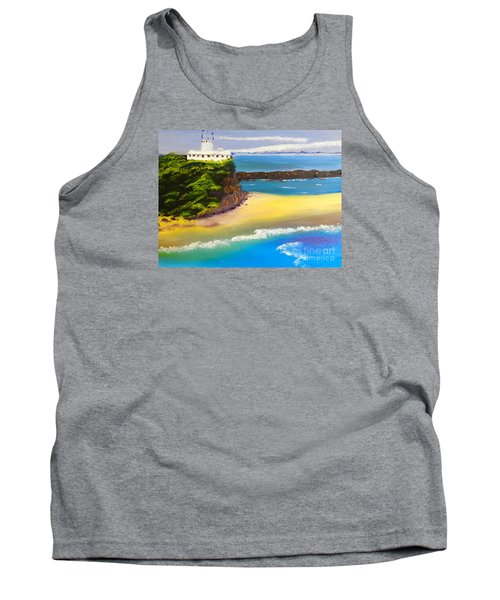 Tank Top featuring the painting Lighthouse At Nobbys Beach Newcastle Australia by Pamela  Meredith