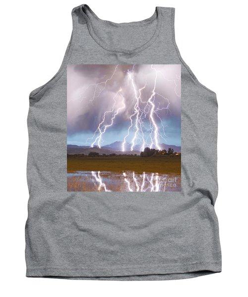 Lightning Striking Longs Peak Foothills 4c Tank Top