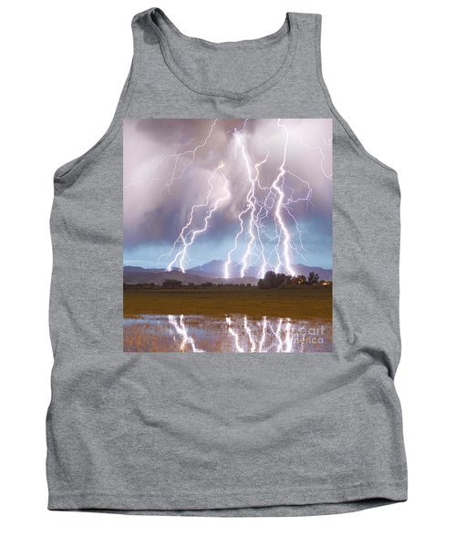 Lightning Striking Longs Peak Foothills 4c Tank Top