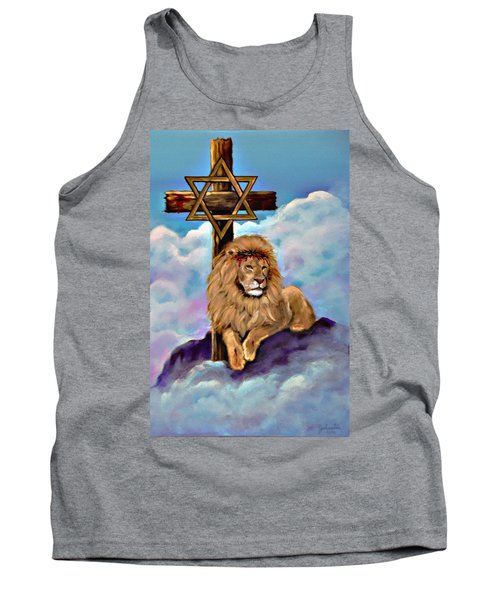 Tank Top featuring the painting Lion Of Judah At The Cross by Bob and Nadine Johnston