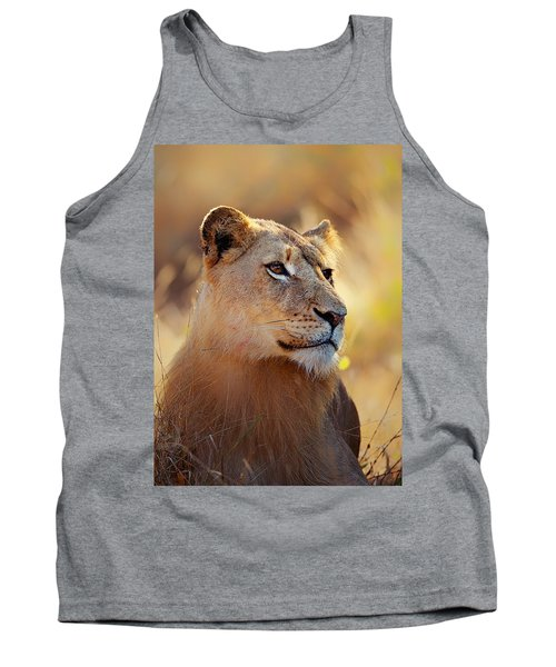 Lioness Portrait Lying In Grass Tank Top