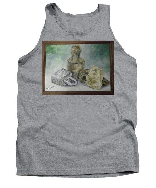 Tank Top featuring the painting Locked And Anchored by Mary Ellen Anderson