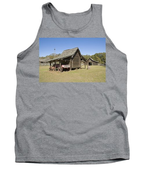 Tank Top featuring the photograph Log Cabin And Barn by Charles Beeler