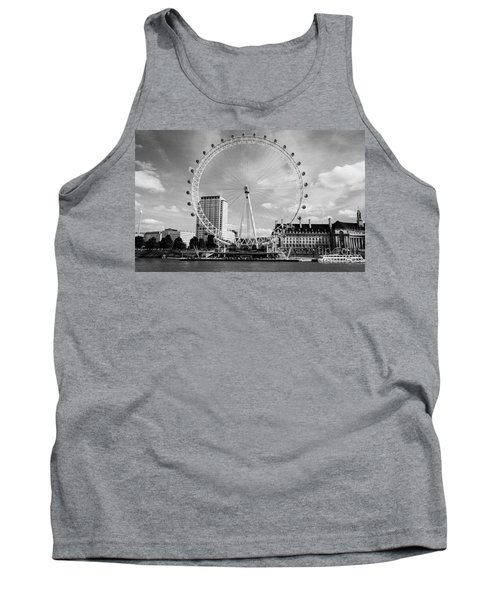 Tank Top featuring the photograph London Eye Head-on Bw by Matt Malloy