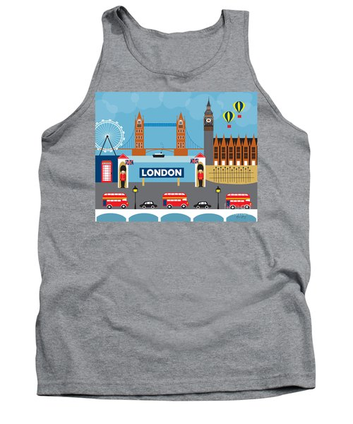 London England Skyline By Loose Petals Tank Top by Karen Young