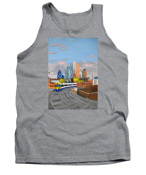 Tank Top featuring the painting London Overland Train-hoxton Station by Magdalena Frohnsdorff