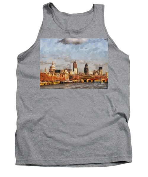 London Skyline From The River  Tank Top by Pixel Chimp