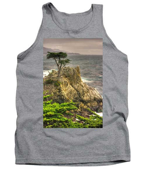 Lone Cypress On The Monterey Peninsula - No. 1 Looking Across Carmel Bay Spring Mid-afternoon Tank Top by Michael Mazaika