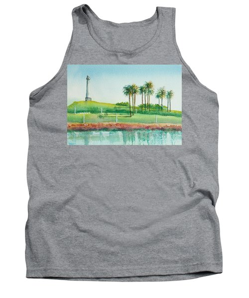 Long Beach Lighthouse Tank Top by Debbie Lewis
