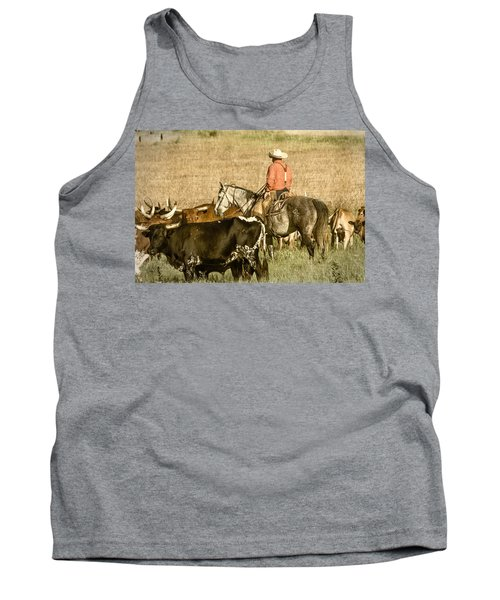Tank Top featuring the photograph Longhorn Round Up by Steven Bateson
