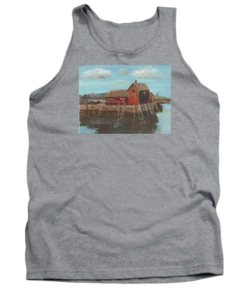 Maine Fishing Shack Tank Top by Christine Lathrop
