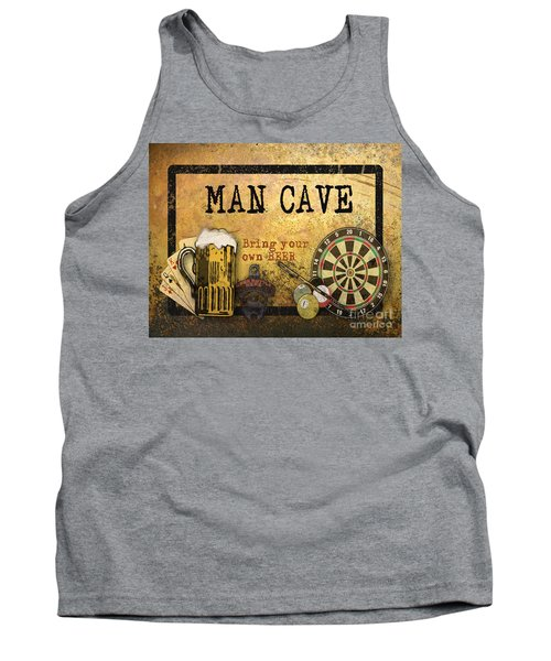 Man Cave-bring Your Own Beer Tank Top by Jean Plout