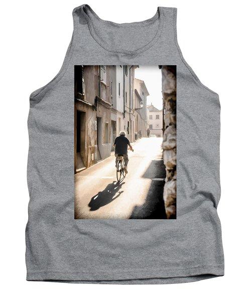 Man Riding Bicycle In Street In Puerto Pollenca Tank Top
