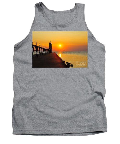 Manistee Lighthouse Sunset Tank Top