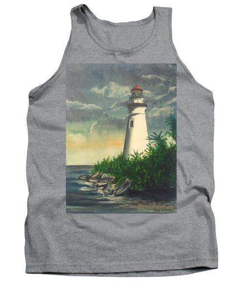 Marblehead Light On Lake Erie Tank Top by Frank Hunter
