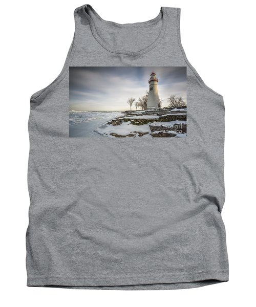 Marblehead Lighthouse Winter Tank Top by James Dean