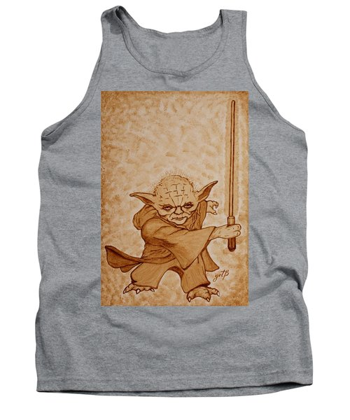 Tank Top featuring the painting Master Yoda Jedi Fight Beer Painting by Georgeta  Blanaru