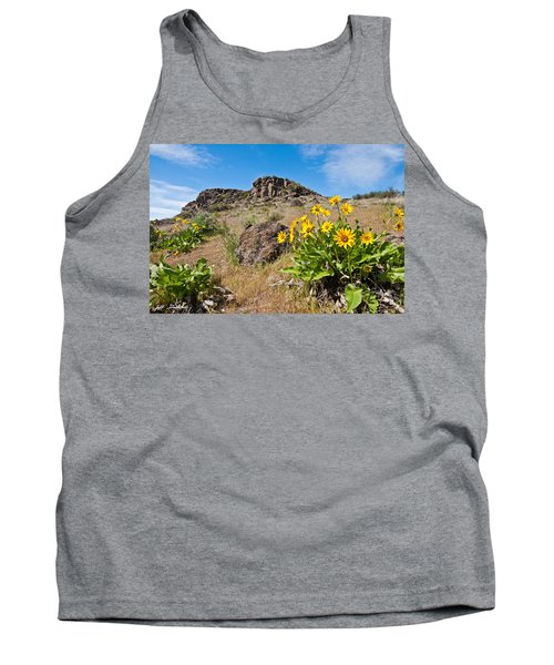 Tank Top featuring the photograph Meadow Of Arrowleaf Balsamroot by Jeff Goulden