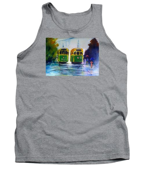Tank Top featuring the painting Melbourne Trams by Therese Alcorn