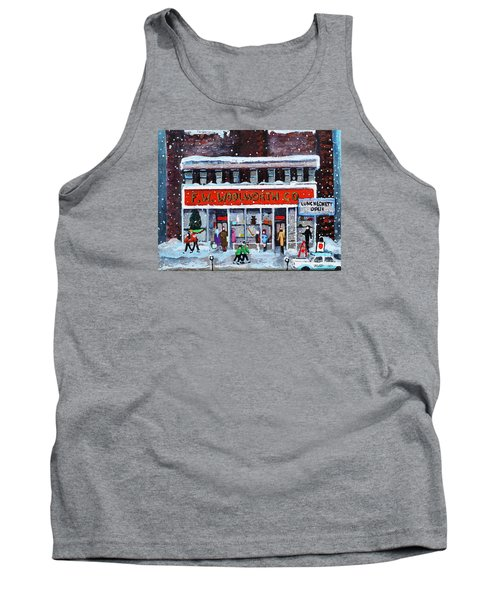 Tank Top featuring the painting Memories Of Winter At Woolworth's by Rita Brown