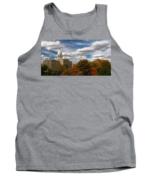 Tank Top featuring the photograph Michgan Capitol - Autumn by Larry Carr