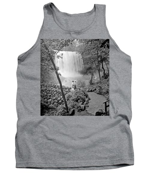 Tank Top featuring the photograph Minnehaha Falls Minneapolis Minnesota 1915 Vintage Photograph by A Gurmankin