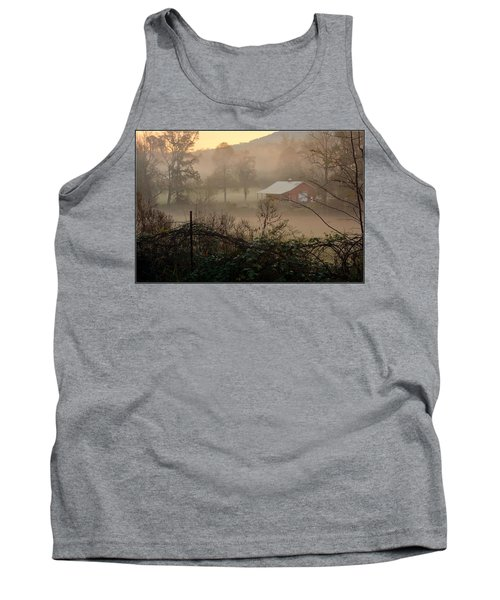 Misty Morn And Horse Tank Top by Kathy Barney