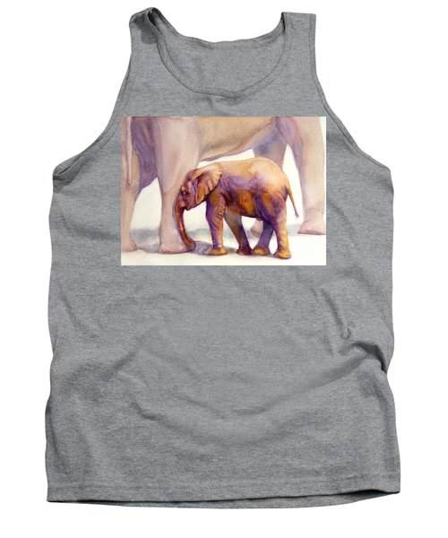 Mom And Baby Boy Elephants Tank Top by Bonnie Rinier