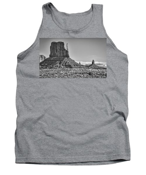 Tank Top featuring the photograph Monument Valley 3 Bw by Ron White
