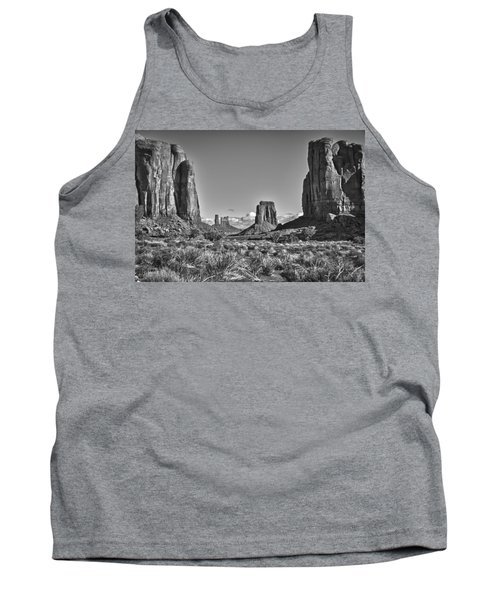Tank Top featuring the photograph Monument Valley 8 Bw by Ron White