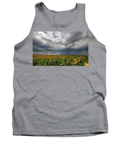 Tank Top featuring the photograph Moody Skies Over The Sunflower Fields by Ronda Kimbrow