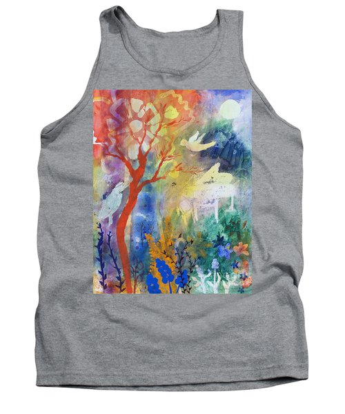 Tank Top featuring the painting Moonlight Serenade by Robin Maria Pedrero