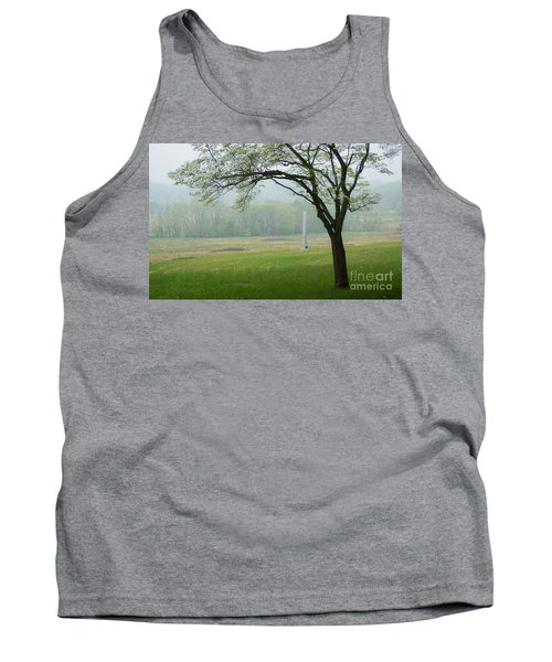 Tank Top featuring the photograph Morning Fog At The Monument by Rima Biswas