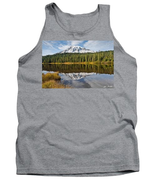 Mount Rainier And Reflection Lakes In The Fall Tank Top by Jeff Goulden