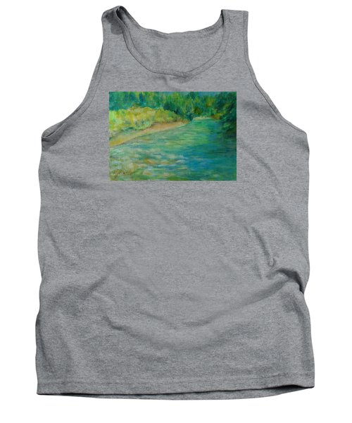 Mountain River In Oregon Colorful Original Oil Painting Tank Top by Elizabeth Sawyer