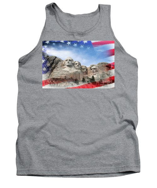 Mt Rushmore Flag Frame Tank Top