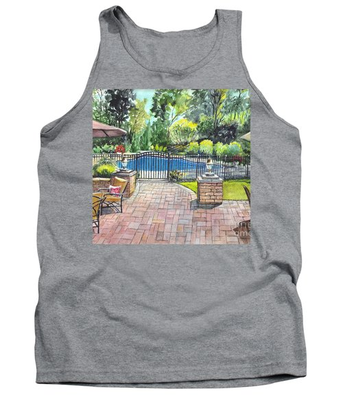 Tank Top featuring the painting My Backyard Vacation by Carol Wisniewski