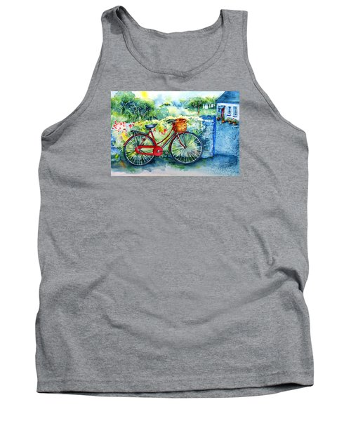 My Red Bicycle Tank Top by Trudi Doyle