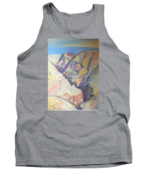 Tank Top featuring the drawing Nachal Darga Canyon by Esther Newman-Cohen