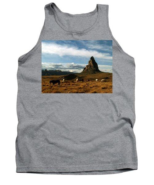 Tank Top featuring the photograph Navajo Horses At El Capitan by Jeff Brunton
