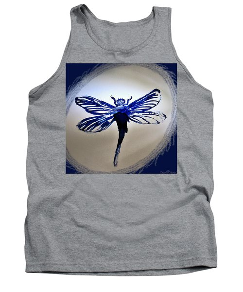 Navy Dragonfly Alcohol Inks  Tank Top by Danielle  Parent